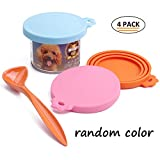 SuperDesign 4PCS Can Covers Scoop Packaging,BPA Free Silicone Can Cover for Multiple Sizes with Melamine Food Scoop,for Dog and Cat, Small Scoop, Pink