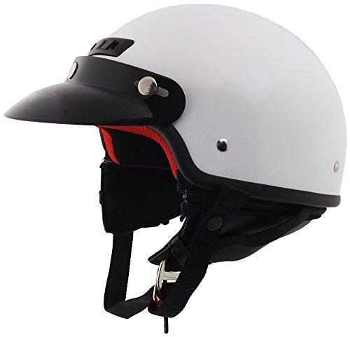 Core Helmets Deluxe Half Helmet (White, Large) (White Half Helmet)