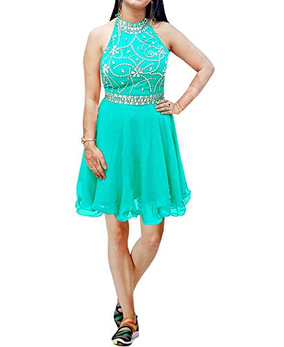 African Boutique Women's Short Beaded Prom Dress Halter Homecoming Dress Backless - Sea Green-L