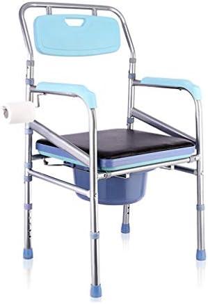 Wei Zhe ベッドサイド箪笥大人高齢妊婦のポータブルトイレ快適なクッションとアームレストの高さが調節可能な折りたたみ、負荷容量の200キロ ホームケア (Color : Blue)