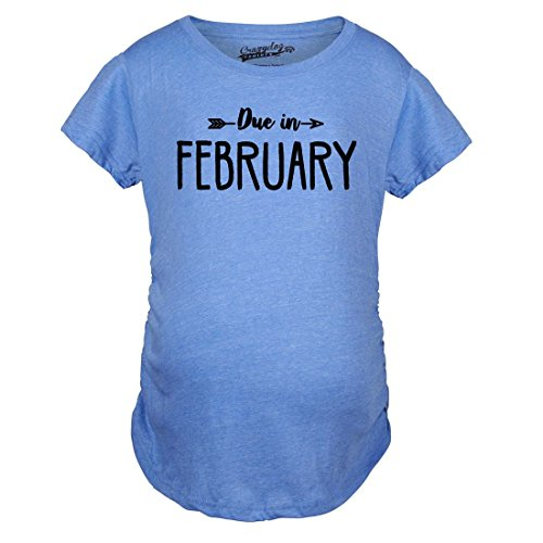 Month Maternity T-shirt - Maternity Due in February Funny T Shirts Pregnant Shirts Announce Pregnancy Month Shirt (Blue) L
