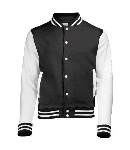 Awdis Varsity Jacket, Sweat-Shirt Homme Noir de Jais / Blanc