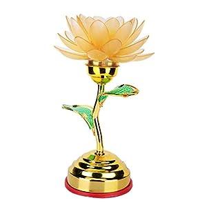 AUNMAS Colorful Buddhism Lotus Lights Buddha Front Lights Buddhist Supplies Home Decor US Plug 110-240v (No Buddha Music)