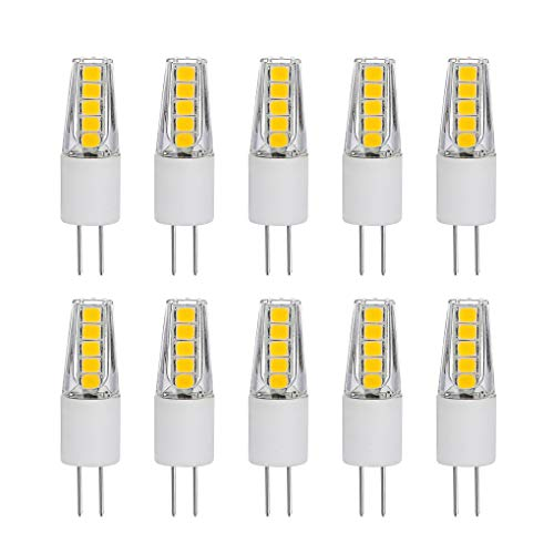 (SumVibe G4 LED Bulb 20W, G4 Halogen Bulb Replacement, G4 Bulbs 2 Watt, Bi-Pin Base, AC/DC 12 Volt Daylight White 6000K, Non-Dimmable, 10-Pack)