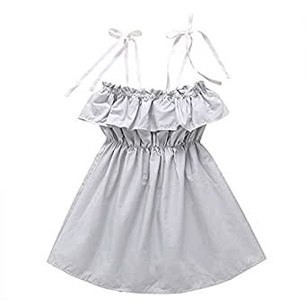 Fairy Baby Kids Girls Summer Outfit Off Shoulder Dress Sling Strap A-line Pleated Sundress Size 2T (Gray)