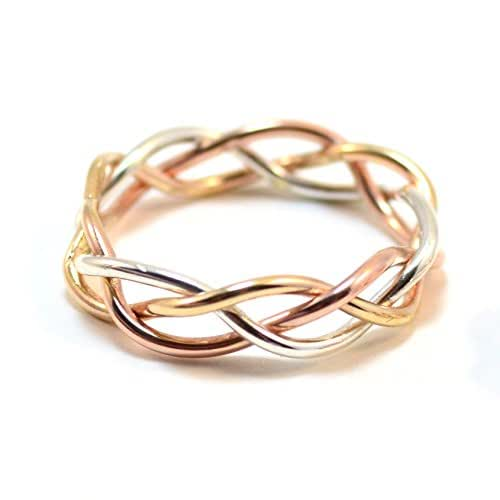 14k Tri Gold Braided Ring - Solid Gold, Rose Gold, White Gold - Unique Wedding Band