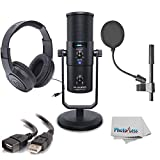 M-Audio Uber Mic USB Microphone with Headphone Output & Samson Headphones + Pop Filter, Cables & Microfiber Clean Cloth