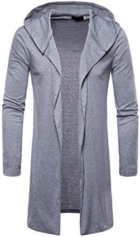 Realdo Mens Long Sweatshirt Casual Autumn Winter Solid Slim Trench Coat Jacket Cardigan Long Sleeve Outwear