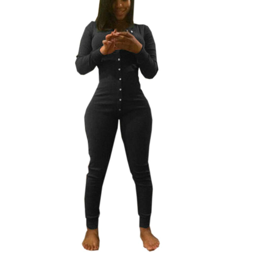 Nevera Bodycon Jumpsuits for Women Party Night Sexy Clubwear V Neck Romper Long Sleeve Black