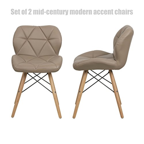 Mid-Century Modern Accent Chairs High-Density Sponge Seat Padded Durable Dowel Legs Comfortable Ergonomic Mid-Back Seat - Set of 2 Cappuccino/Tan - Hours Settlers Green