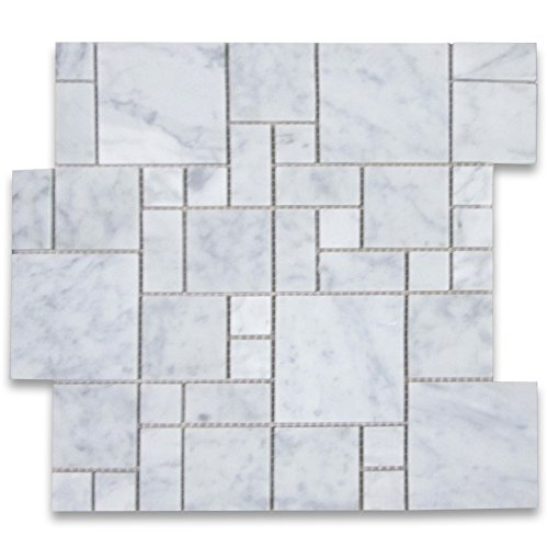 Marble Versailles - Carrara White Italian Carrera Marble Mini Versailles French Pattern Mosaic Tiles Polished