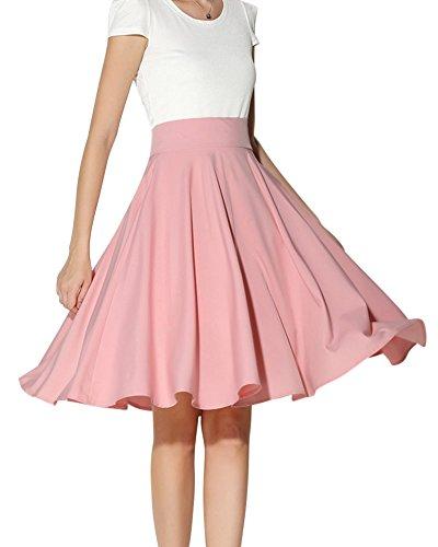 Mujeres De Color Solido De Cintura Alta Completos Plisados Grandes Dobladillo Faldas Midi Moda Pink