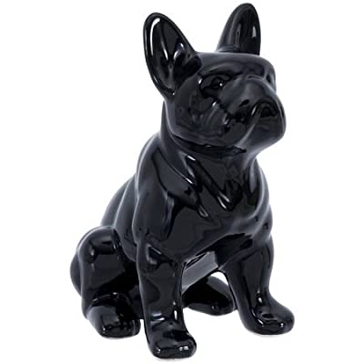 Elements Black Ceramic Bull Dog Figurine, Black