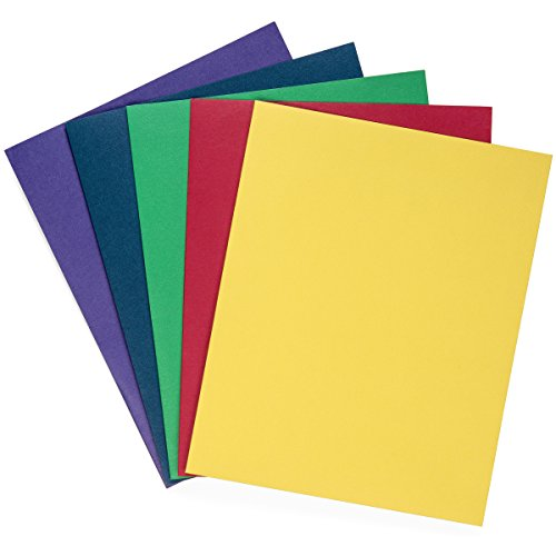 Blue Summit Supplies 50 Two Pocket Folders, Designed for Office and Classroom Use, Assorted 5 Colors, 50 Pack Colored 2 Pocket Folders by Blue Summit Supplies