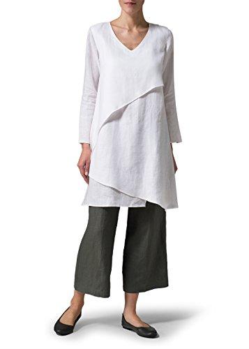 Vivid Linen Women's Layering V-neck Tunic
