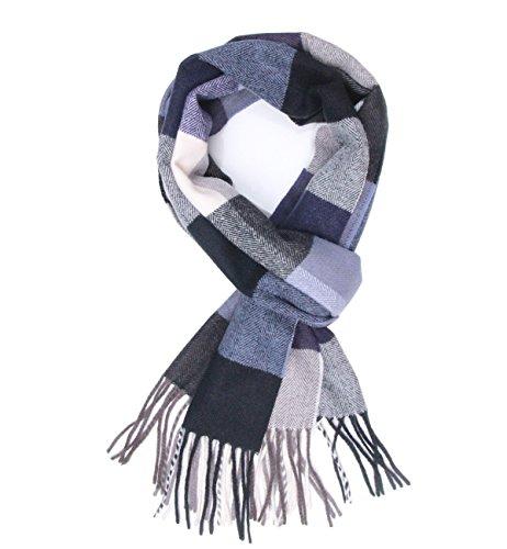 (Saferin Men Winter Plaid Soft Elegant Cashmere Feel Wrap Scarf Grey Plaid (3-5 Blue White Plaid))