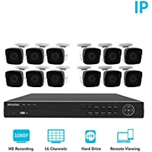 LaView 1080P HD IP 12 Camera Security System 16 Channel PoE 1080P NVR a 6TB HDD Indoor/Outdoor Cameras Day/Night Surveillance System Remote Viewing