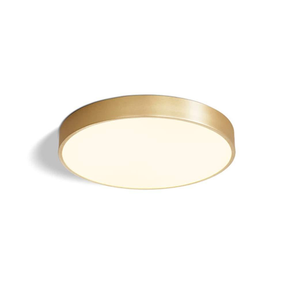 LED Deckenleuchte Modern Einfaches Deckenlampe Klassisch Kupfer Leuchte Dimmbar Zimmer Beleuchtung Deckenbeleuchtung Lampe für Wohnzimmer Schlafzimmer Esszimmer Kinderzimmer 54W Ø30*H4cm