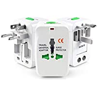 Case Plus Universal Travel Adapter with 125V 6A, 250V Surge/Spike Protected Electrical Plug (White) (Without USB)