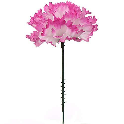 Larksilk White Pink 5 Silk Artificial Carnation Flowers 100 Count
