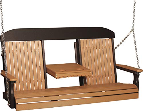 Furniture Barn USA Outdoor 5 Foot High Back Swing – Cedar and Black Poly Lumber – Recycled Plastic