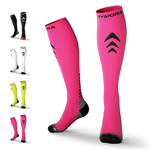 Rymora Compression Socks (Cushioned, Graduated Compression, Unisex for Men and Women) (One Pair) (Pink) (US Men: 4-7.5/US Women: 5-8.5)