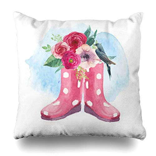 ArtsDecor Throw Pillow Covers Springtime Watercolor Polka Dot Boots Flowers Bird Vintage Plant Spring Gumboots Roses Anemone Home Decor Cushion Square Size 16