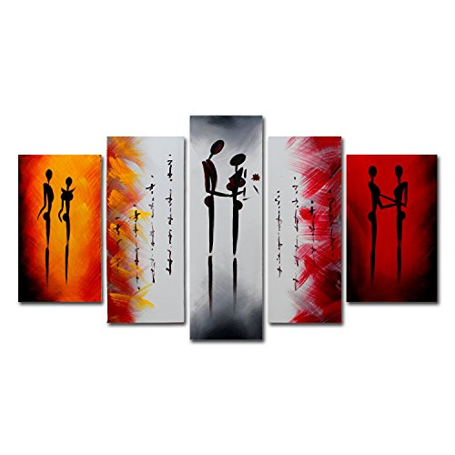 FLY SPRAY 5-Piece 100% Hand-Painted Oil Paintings Panels Stretched Framed Ready Hang Lover Dancer Kiss People Modern Abstract Canvas Living Room Bedroom Office Wall Art Home (Log Mirror Frame)