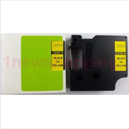 Black on Yellow Label Tape Compatible for DYMO D1 45018 S0720580 1/2
