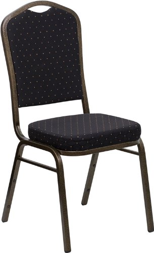 HERCULES Series Crown Back Stacking Banquet Chair with 2.5'' Thick Seat Black Patterned/Gold Vein Frame/Fabric