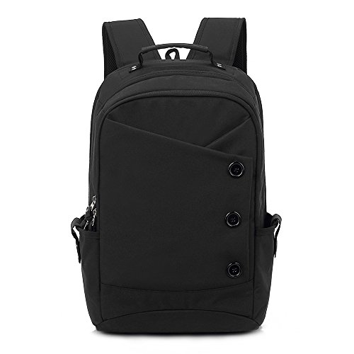 Kingslong Laptop Men Backpack 15.6 Inch Double Strong Shoulder Bag with Durable Linen Large Capacity Casual Daypack (black)