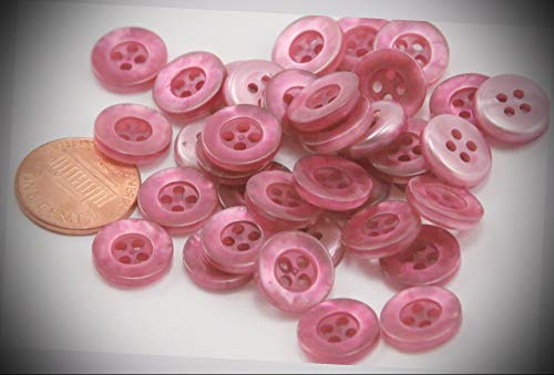 (24 Small Pearlized Light Pink Purple Plastic Buttons Almost 1/2'' 12mm 6597 Perfect for Crafts, Scrap-Booking, Jewelry, Projects, Quilts)