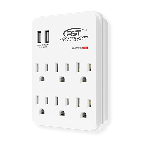 CRST 6-Outlets Wall Tap (900 Joules) Surge Protector with Dual USB Charging Ports for Home, School, Office and More - [ETL Listed]