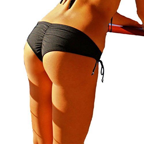 CENG MAU Sexy Women's Brazilian Cheeky Ruched Adjustable Bikini Boy Short Bottom(M)