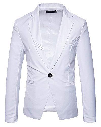 Libero Libero Un Casual per per per Giacca Bottone 1 Slim Abbigliamento Il Uomo da Bottone Bianca Fit Uomo A da Giacca vestibilità Giacca Uomo da Giacca Tempo Giacca rnFXnx8W