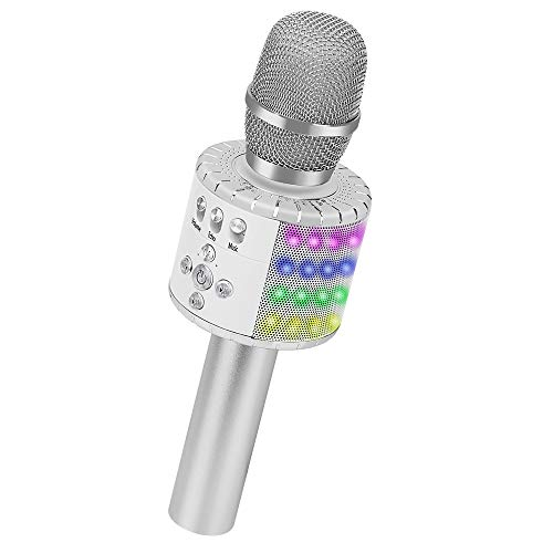Buy Bargain BONAOK Wireless Bluetooth Karaoke Microphone with Multi-color LED Lights, 4 in 1 Portabl...
