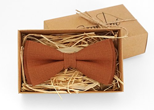 - Burnt orange bow tie for wedding /Bow ties for men/ Burnt orange linen bow tie /Festival bow tie for groomsmen/ Burnt orange boys bow ties Kids bow ties Wedding orange bow ties