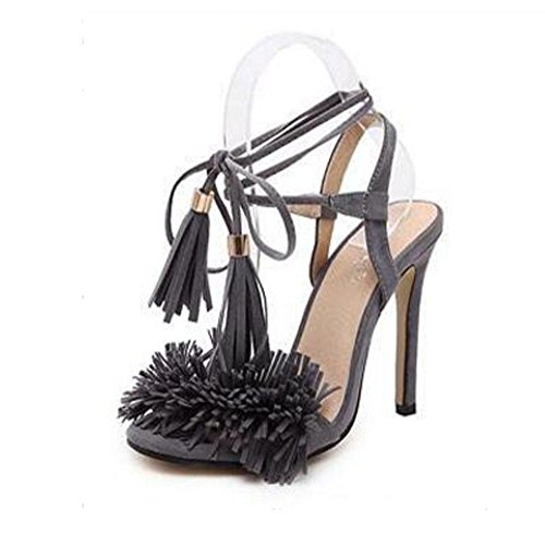 Fine Heel Tobilleras gray Thin Word Cross Correas Red Open Belt Tassel Mouth Highxe One Sandalias 37 Toe 39 High Gamuza Para Band Mujer Shallow FnzqPZ