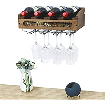 Single brightmaison Wall Mounted Walnut Stained Wood Wine Stem Rack for Bottles and Stemware Glass Storage Holder Organizer Display