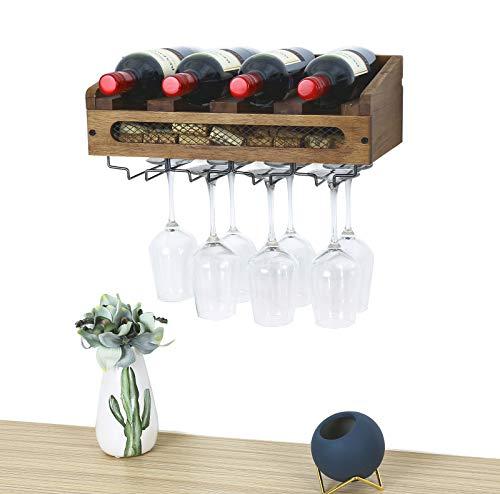 SODUKU Wall Mounted Wooden Wine Rack 4 Wine Bottles and 4 Long Stem Glasses Holder Wine Cork Storage Rack (Wine Wooden Cork Holder)