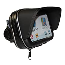 "RiderMount waterproof Sunshade 5"" GPS Satnav Case with motorcycle motorbike handlebar mount for Garmin TomTom 5 inch"