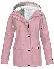 SLXHUAFA Women's Fluffy coatWomen Jacket Thick Plush Fur Collar Windbreaker Coat Ropa Ciclismo Wind Coat Outdoor Hiking Clothing Raincoat Plus Size