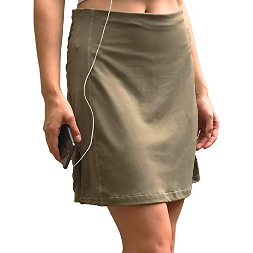 - Sport-it Skort, Mid-Length Skirt Shorts with Side and Waistband Pockets, Tummy Control (Small, Khaki)