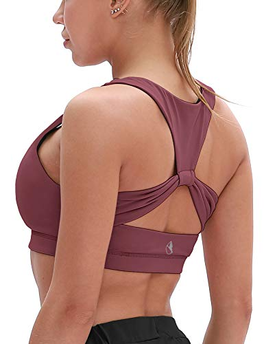 - icyzone Workout Sports Bras for Women - Fitness Athletic Exercise Running Bra Yoga Tops (S, Mauve Orchid)