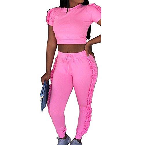 Survêtement Ensemble pour Femme Mode Suit Manches Courtes Crop Tops avec Décoration à Volants et Pantalons Longue Jogging Couleur Unie 2pcs Sportswear