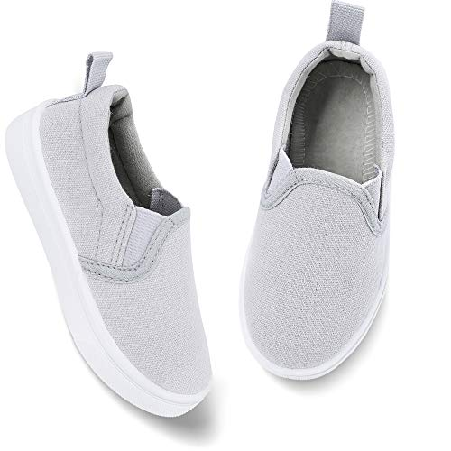 okilol Toddler Shoes Boys Walking Shoes Slip on Casual Loafer Kids Autumn Sneakers Light/Gray 9 M US Toddler