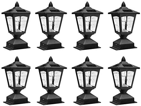 Pack of 8 4 x 4 Solar Powered Post Cap Light Wood Fence Posts Pathway,Deck,Fence Light Pack 8