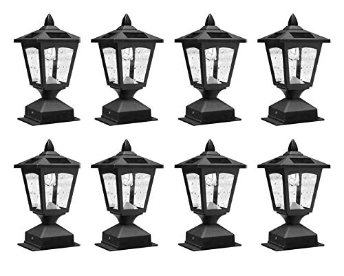Pack of 8 4 x 4 Solar Powered Post Cap Light Wood Fence Posts Pathway,Deck,Fence Light (Pack ()