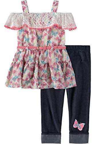 Little Lass Little Girls' Printed Tunic Capri Set (Pink/Butterfly, 6X)
