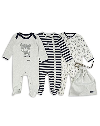 The Essential One - Baby Boys' Beary Much Footie Sleepers 3 Pack Newborn